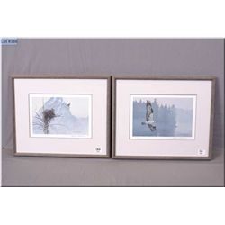 Robert Bateman Matching Pair of Framed Ltd Edit Prints, Misty Lake Osprey , # 521/950, Artist Signed