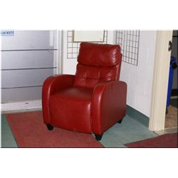Modern Red Leather Reclining Lounge Chair