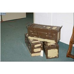 Three Military Brown Metal Ammo Boxes w/handles