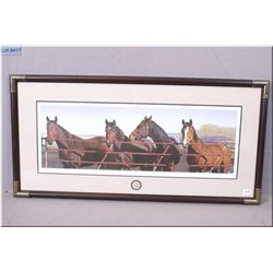 "Limited Edition Framed Print, ""At the Gate"" # 540/3000  Artist Signed Adeline Halvorson [ four horse"