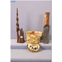 Four Wooden Carved Items : tree style bowl - small wall plaque of horse - tree statue - post w/glass