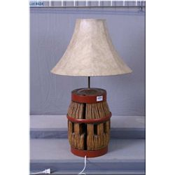 Wooden & Iron Barrel Decorative Elec Table Lamp w/shade