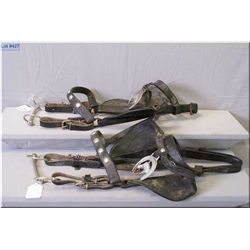 Two Heavy Leather Horse Harness Bridles w/bits, & one decorative horse head medallion