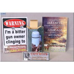 Lot : Two Lg & Three Small New Metal Signs , w/three New Stainless Steel Vacuum Thermoses depicting