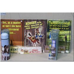 Lot : Three  Lg & Three Small new metal signs - 3 new vacuum thermoses w/scenes of horses, mounains