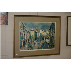 Framed signed print of a street scene 320/350