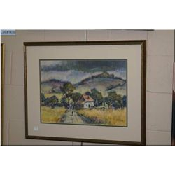 "Framed original pastel painting of a cottage scene signed by artist P.Rhoades 14"" X 20"""