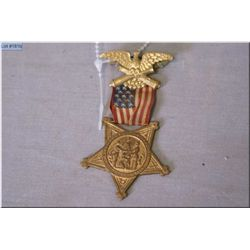 Eagle Pin w American Flag Ribbon & star shaped Medal , stating Grand Army of the Republic 1861 Veter
