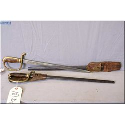 """Two Short  Kinder Sabres w/16"""" blades, brass hilt w/wooden handles, metal scabbards & leather frogs"""