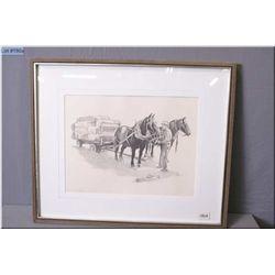 "Olgo Tomlinson Artist Signed  Framed Print, "" The Old Order - Unharnessing the Team"", black & white"