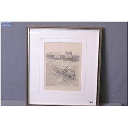 "Olgo Tomlinson Artist Signed & Framed Print, "" Bridge Creek Ranch - Cariboo II"" black & white"
