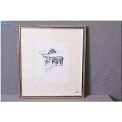 "Olgo Tomlinson Artist Signed & Framed Print  ""Cariboo Spring - II"" black & white"