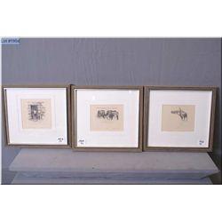 "Lot of Three Small Olgo Tomlinson Artist Signed & framed prints : ""Log Barn - Cariboo"", ""The Yearlin"