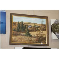 """Signed original acrylic on board painting by artist Reubens of a wooded cabin in autumn 18"""" X 23"""""""