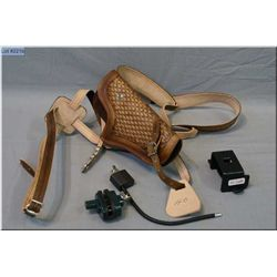 Bag Lot : Hand tooled three way Mexican leather holster, fits above or similar - trigger lock w/key