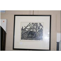 """A framed black and white engraving entitled """"Summer"""" by artist James Aprell Smith"""