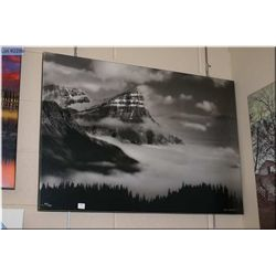 Daryl Benson limited edition giclee 53/200 featuring black and white misty mountains