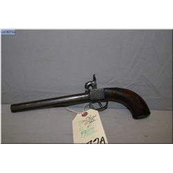 """Unknown English .45 Perc cal single shot center over hammer Pistol w/8"""" oct bbl [ pitted metal finis"""