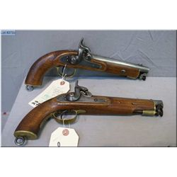 Matched Pair of Unknown Military Style .69 Perc cal single shot Pistols w/attached swivel type ram r