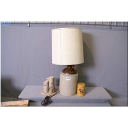 Box Lot : Crockery Jug Made into electric table lamp - Oriental bamboo lidded container- Birch Bark