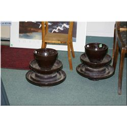Two large glazed ceramic insulators