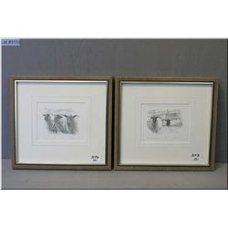 "Pair of Two Small Olgo Tomlinson Signed & Framed Prints, ""Black Faced Sheep"" , black & white"