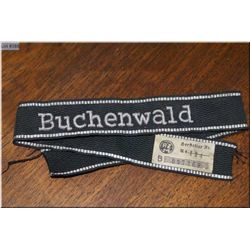 Buchenwald Cuff Title, with hand embroidered metallic lettering & border [ origin unknown]