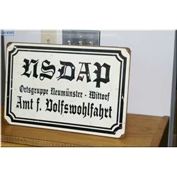 NSDAP Neumunster (District Iserthal Dept. of People's Welfare) enameled sign ( origin unknown)