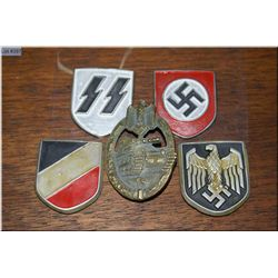 German Nazi Army Tank Assault Badge , an early German Waffen SS helmet decal , a HJ [ Hitler Youth ]