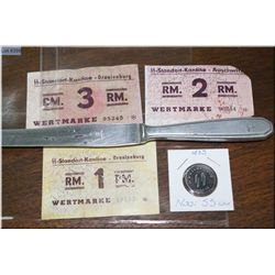 Two Oranienburg , One Auschwitz Kantine Token plus a Nazi SS Kantine token coin, and a Kantine Knife
