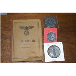 WWII Soldbuch [ German Civilian ] Document Book, a four years served SS Medal , a Eight years served