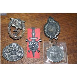 German Totenkopf SS Badge, Totenkopf and dagger pin, Airforce Ground Force, Assault badge, a German