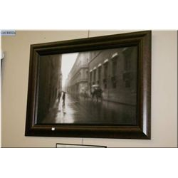 Framed giclee picture of a rainy street scene