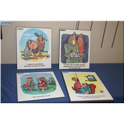 Four Herman Cartoon prints
