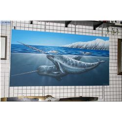 "An acrylic on canvas of two Narwhal by local artist J. Mackay 40"" x 78"""