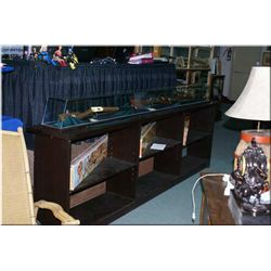 Hand made 9' long display cabinet with glass top