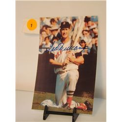Ted Williams Autographed Photo.  4x6 Color Photo - appraised or estimated retail value $500.  COA by