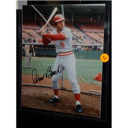 Johnny Bench Autographed Photo.  8x10 Color Photo.  Appraised or estimated retail value $150.  COA b