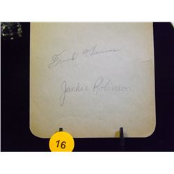 Jackie Robinson Die Cut Autograph with Frank Thomas Autograph and Carlos B. Autograph.  Appraised or