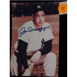 Joe Dimaggio Autographed Photo.  4x6 Color Photo.  Appraised or estimated retail value $500.  COA by