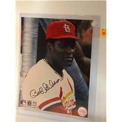 Bob Gibson Autographed Photo.  8x10 Color Photo.  Appraised or estimated retail value $250.  COA by
