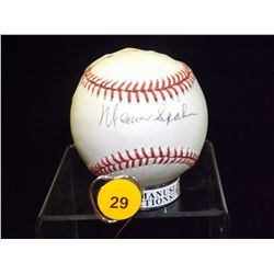 Warren Spahn Autographed Baseball.  Rawlings Official NLB.  Appraised or estimated retail value $450