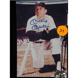 Mickey Mantle Autographed Photo.  4x8 Color Photo.  Appraised or estimated retail value $500.  COA b