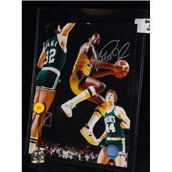 Magic Johnson Autographed Photo.  8x10 Color Photo.  Appraised or estimated retail value $350.  COA