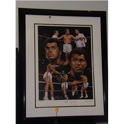 Muhammed Ali Autographed Print.  17x24 Framed Color Poster Print - also signed by artist.  Appraised