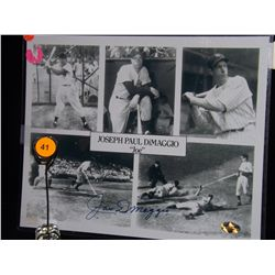 Joe Dimaggio Autographed Collage.  8x10 Photo Collage.  Appraised or estimated retail value $695.  C