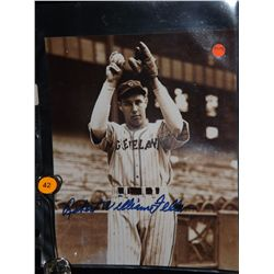 Bob Feller Autographed Photo.  8x10 Color Photo.  Appraised or estimated retail value $400.  COA by