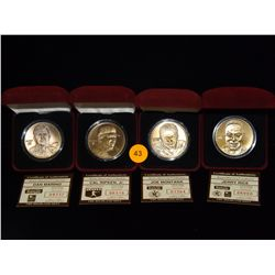 Lot of 4 Bronze Collectible Coins in Velvet Cases: Dan Marino Cased Coin, Cal Ripkin Jr. Cased Coin,