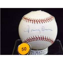 Tommy Davis Autographed Baseball.  Rawlings Official NLB.  Appraised or estimated retail value $250.
