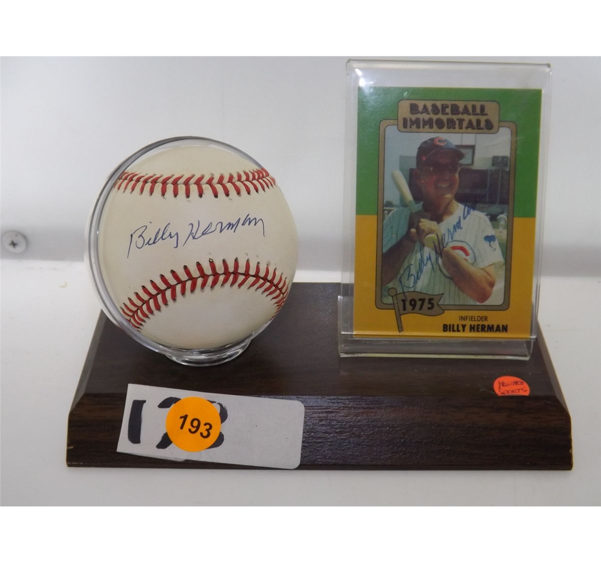 Billy Herman Autographed Baseball Card Rawlings Official Alb Stand Trading Card Appraised O